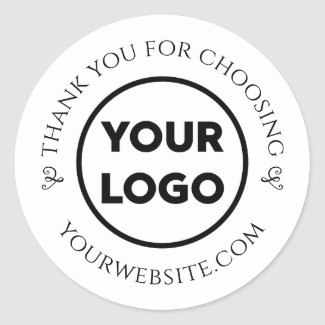 Custom Logo Chic Business Thank You Classic Round Sticker
