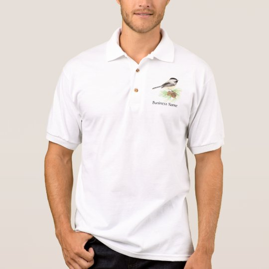 Custom Logo, Chickadee, Bird, Pine, Business Polo Shirt