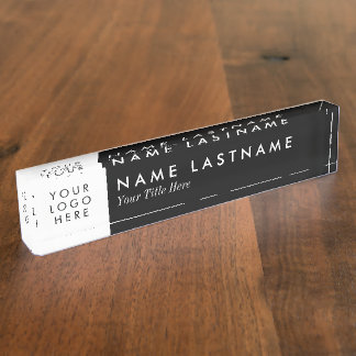 Custom Logo Elegant Black White Desk Nameplate