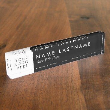 pinkpinetree Custom Logo Elegant Black White Desk Nameplate