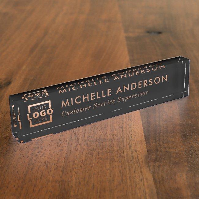 Custom Logo Elegant Modern Minimalist Copper Black Desk Name Plate