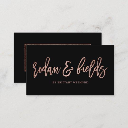 Custom logo elegant rose gold typography black business card | Zazzle.com