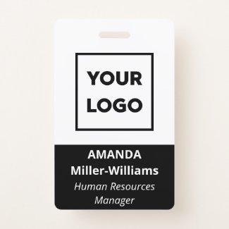 Custom Logo Employee Bold Black White Name Badge