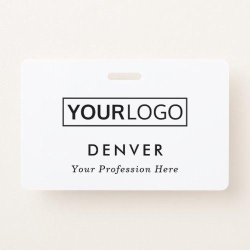 Custom logo employee name title white id badge
