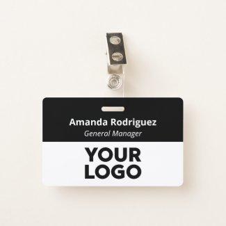 Custom Logo Employee Simple Black White Name Badge