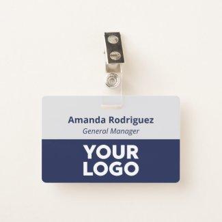 Custom Logo Employee Simple Grey Navy Blue Name Badge