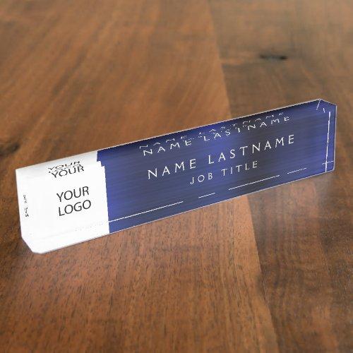 Custom Logo Executive Navy Blue Professional Desk Name Plate
