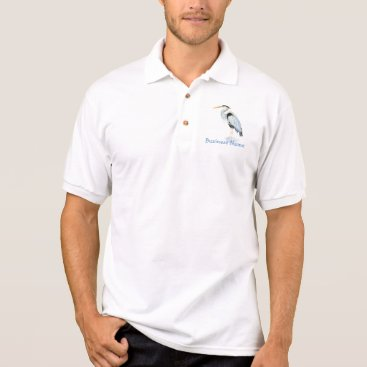 Professional Business Custom Logo, Great Blue Heron Bird - Business Polo Shirt