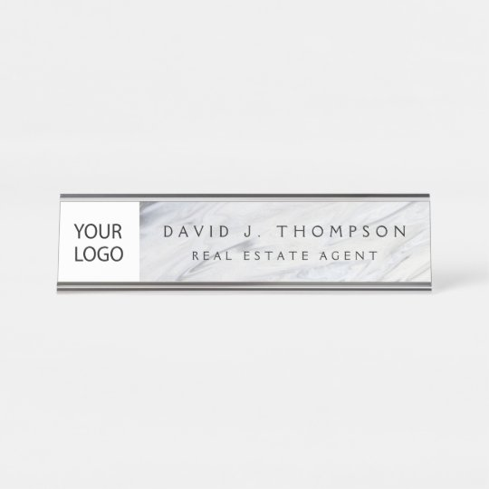 Custom Logo Grey White Marble Professional Desk Name Plate