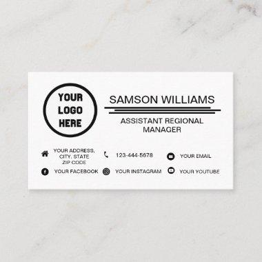 Custom Logo Minimalist Social Media Icons Business Card