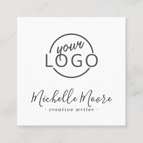 Custom logo modern feminine minimalist white square business card