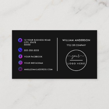 Custom logo modern minimalist social media icons b business card