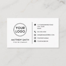 Custom logo modern minimalist social media icons business card