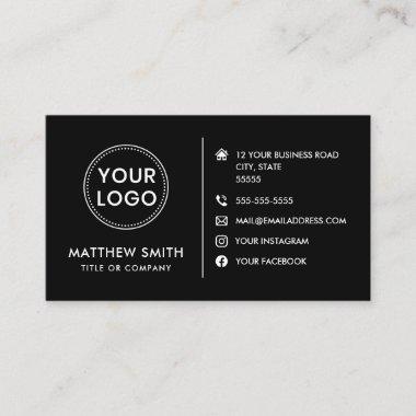 Custom logo modern minimalist social media icons business card