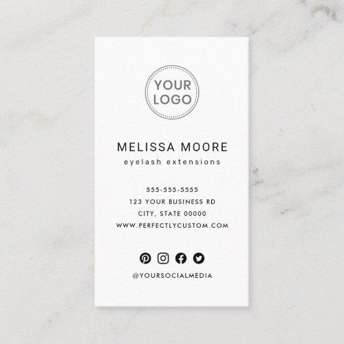 Custom logo modern minimalist white vertical business card