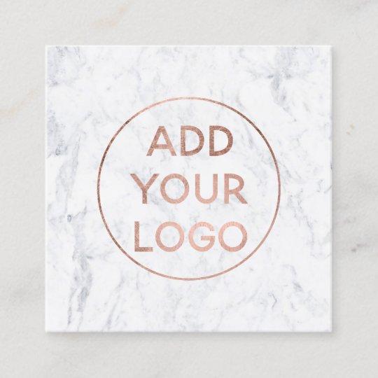 custom logo modern rose gold chic white marble square