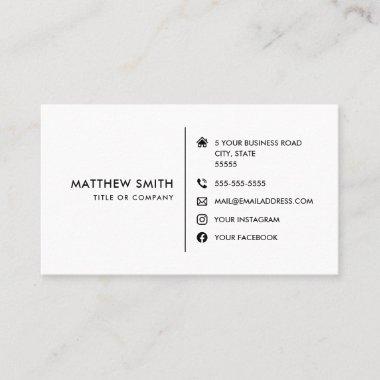 Custom logo modern white social media icons business card