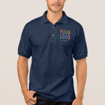 Custom Logo Navy Blue Cotton Jersey Polo Shirt