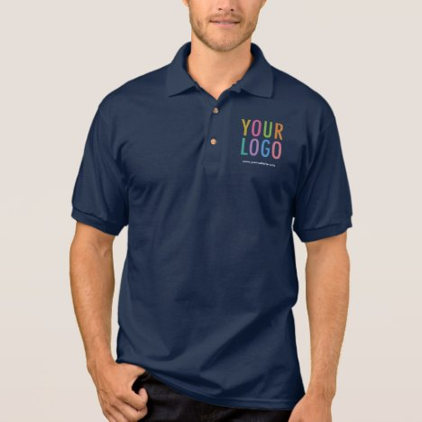 Custom Logo Navy Blue Cotton Jersey Polo Shirt