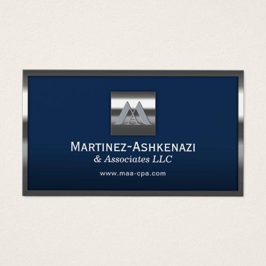 Custom Logo Navy Blue Modern Metal Frame Business Card