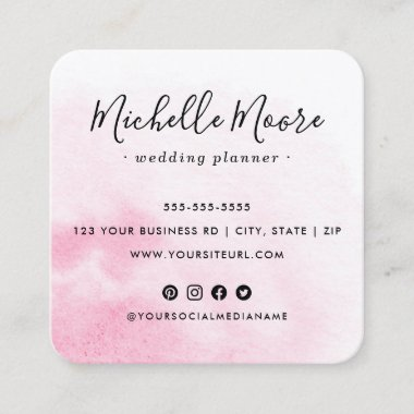 Custom logo pink watercolor social media icons square business card