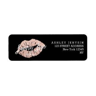 Custom Logo rose gold glitter lips typography Label