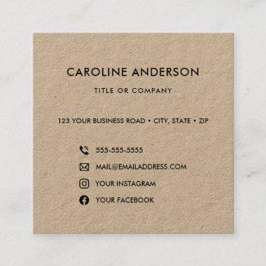 Custom logo rustic Kraft social media icons square Square Business Card