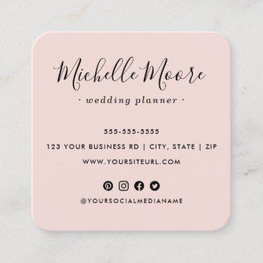 Custom logo social media icons elegant blush pink square business card