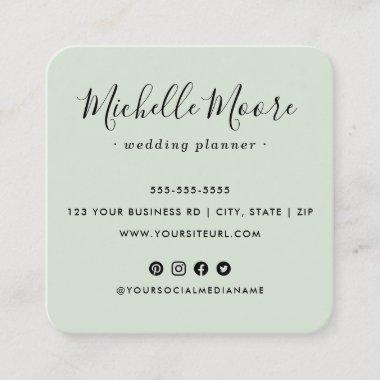 Custom logo social media icons elegant light green square business card