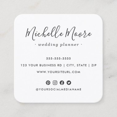 Custom logo social media icons elegant script square business card