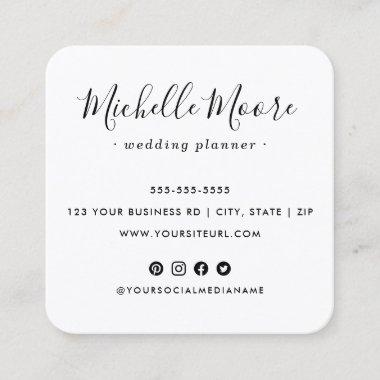 Custom logo social media icons elegant white square business card