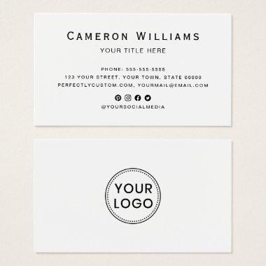 Custom logo social media white business cards
