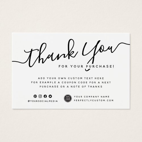 Custom logo white or any color thank you insert
