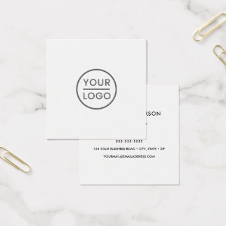 Custom logo, white, square, professional square business card