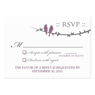 "::custom:: Love Birds 3.5x2.5"" Grey/Purple RSVP Large Business Cards (Pack Of 100)"