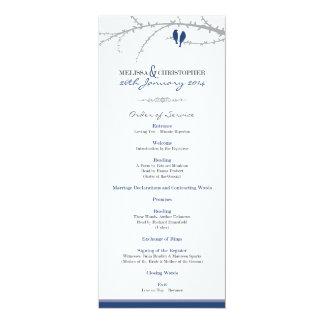 Custom Love Birds Order of Service (navy) 4x9.25 Paper Invitation Card
