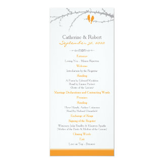 Custom Love Birds Order of Service (orange) Card