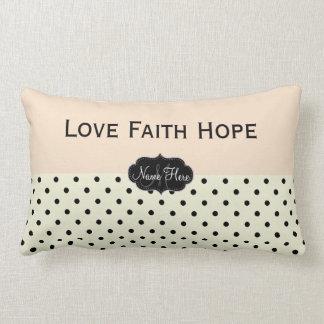 Custom Love Faith Hope Linen Peach  Polka Dots Pillows