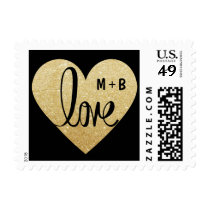 Custom LOVE Gold Heart Wedding US Template Stamps