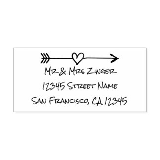 Custom love heart arrow self inking address stamp