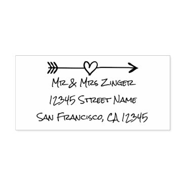 Valentines Themed Custom love heart arrow self inking address stamp