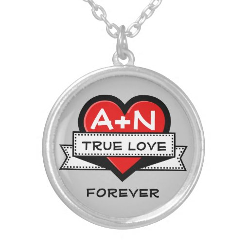 Custom Love Initials Heart With Ribbon V3A Round Pendant Necklace