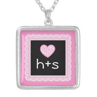 Custom Love Initials Pink Zebra Heart BLACK V03A Custom Necklace