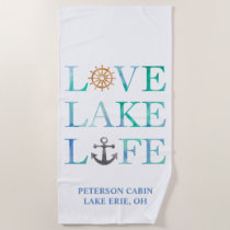 Custom Love Lake Life Typography Watercolor Beach Towel