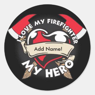 Custom Love My Firefighter Classic Round Sticker