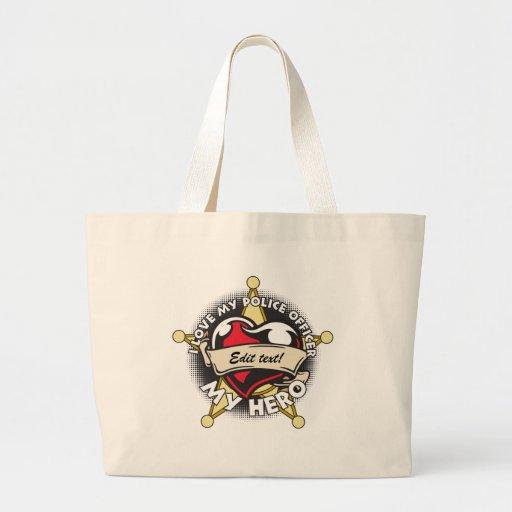 Custom Love My Police Officer Jumbo Tote Bag