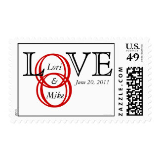 Custom Love with Names Wedding Rings Postage