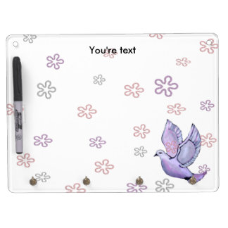 Custom lovely peace dove dry erase board with keychain holder