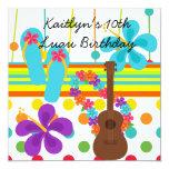 "Custom Luau Birthday Invitation 5.25"" Square Invitation Card"