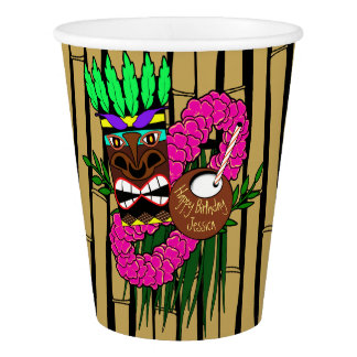 Custom Luau Birthday Party Paper Cup